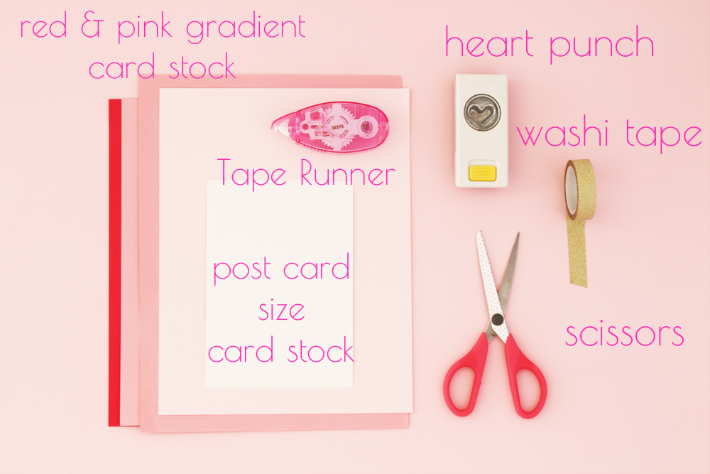 Supplies for DIY Ombre Heart Valentine card