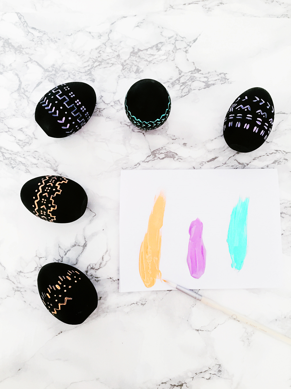 DIY Mud Cloth Inspired Easter Eggs - hand painted