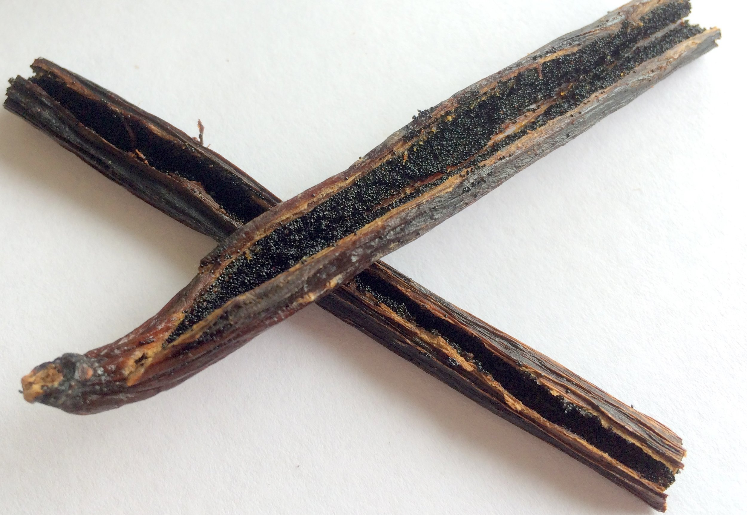 Sliced open vanilla bean