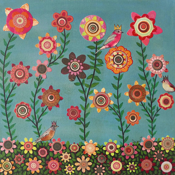Sascalia - Birds and FlowersMixed Media Paper Collage