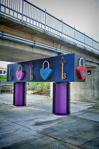 This is pretty cool! Lock-On Tacoma is an interactive love and wishing lock sculpture located in Tacoma, Washington. Made by Diane Hansen in 2013