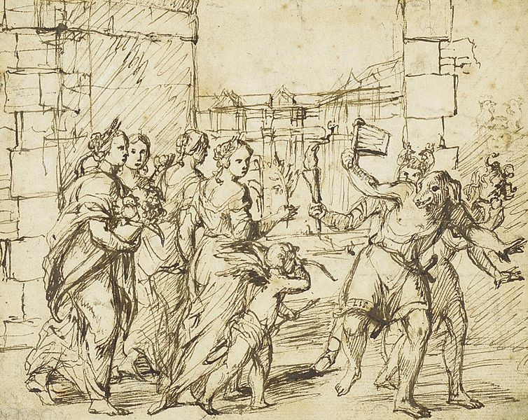 Pen drawing by      Adam Elsheimer    (1578–1610).     The Lupercalian Festival in Rome: Cupid and Personifications of Fertility encounter the Luperci dressed as dogs and goats.