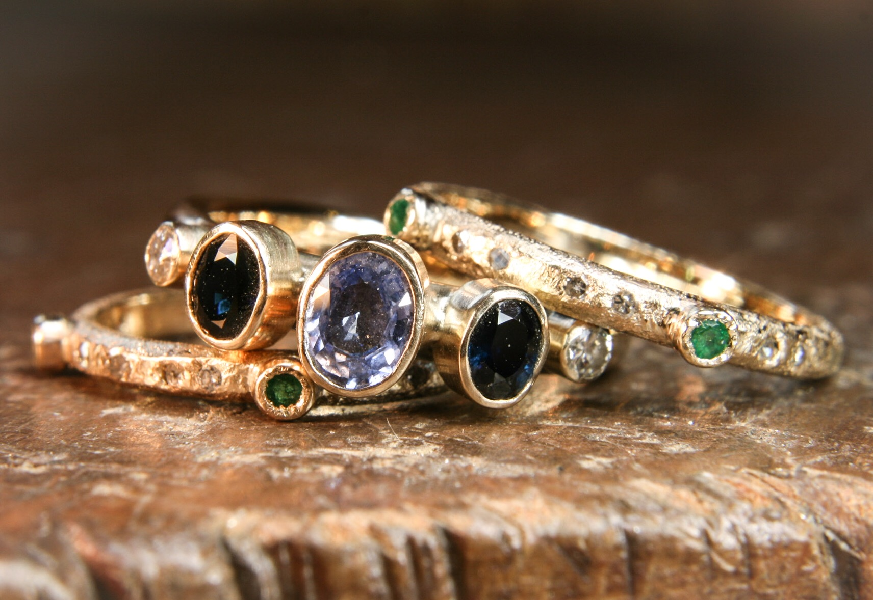 Multi-stone gold stacking rings
