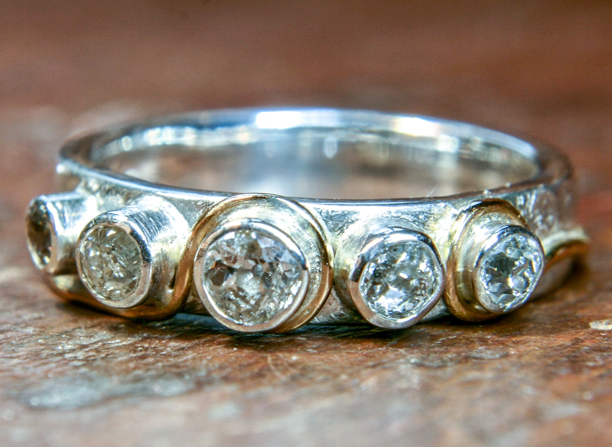 Remodelled yellow and white gold ring