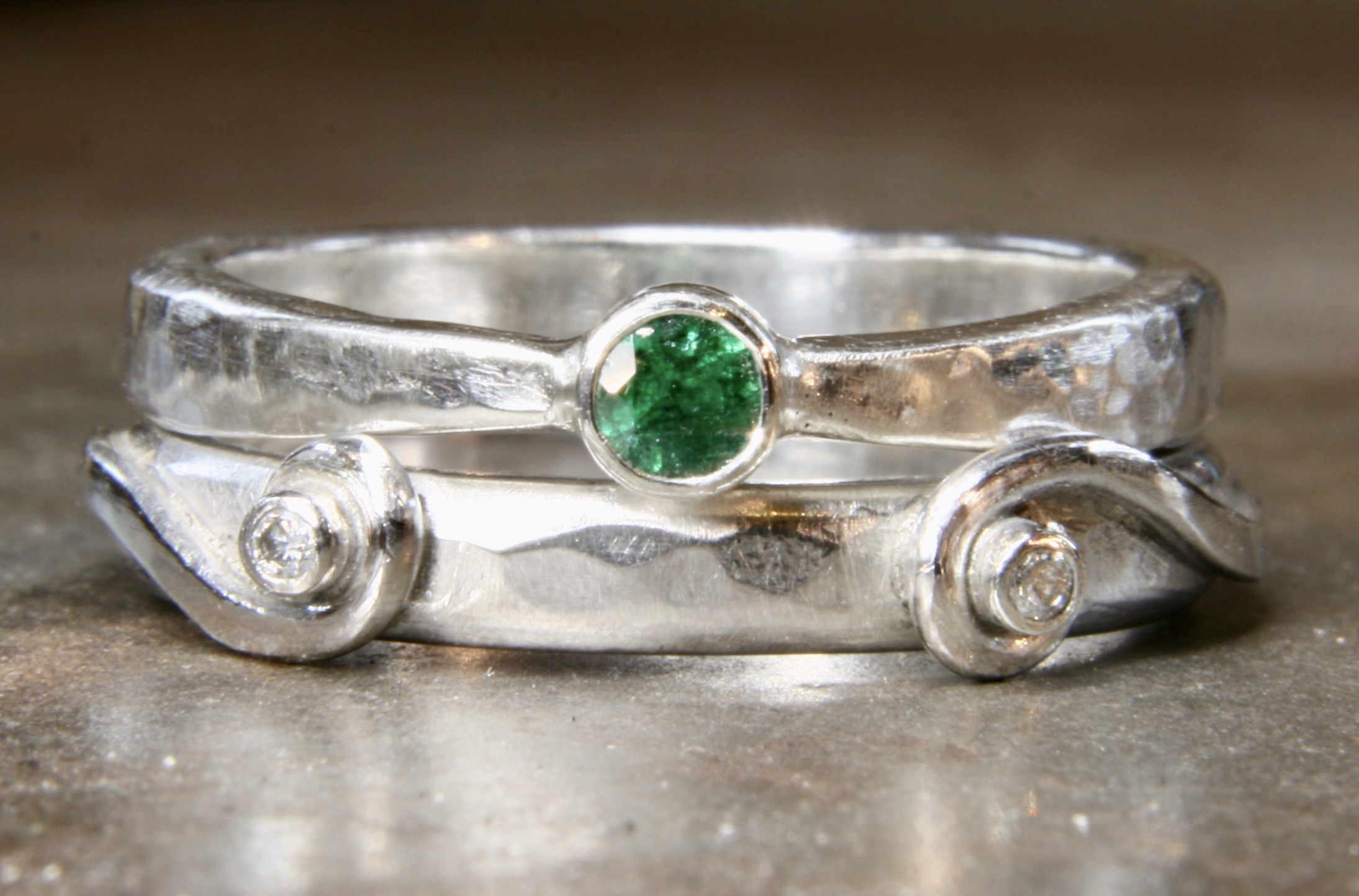 Recycled silver, diamond and emerald