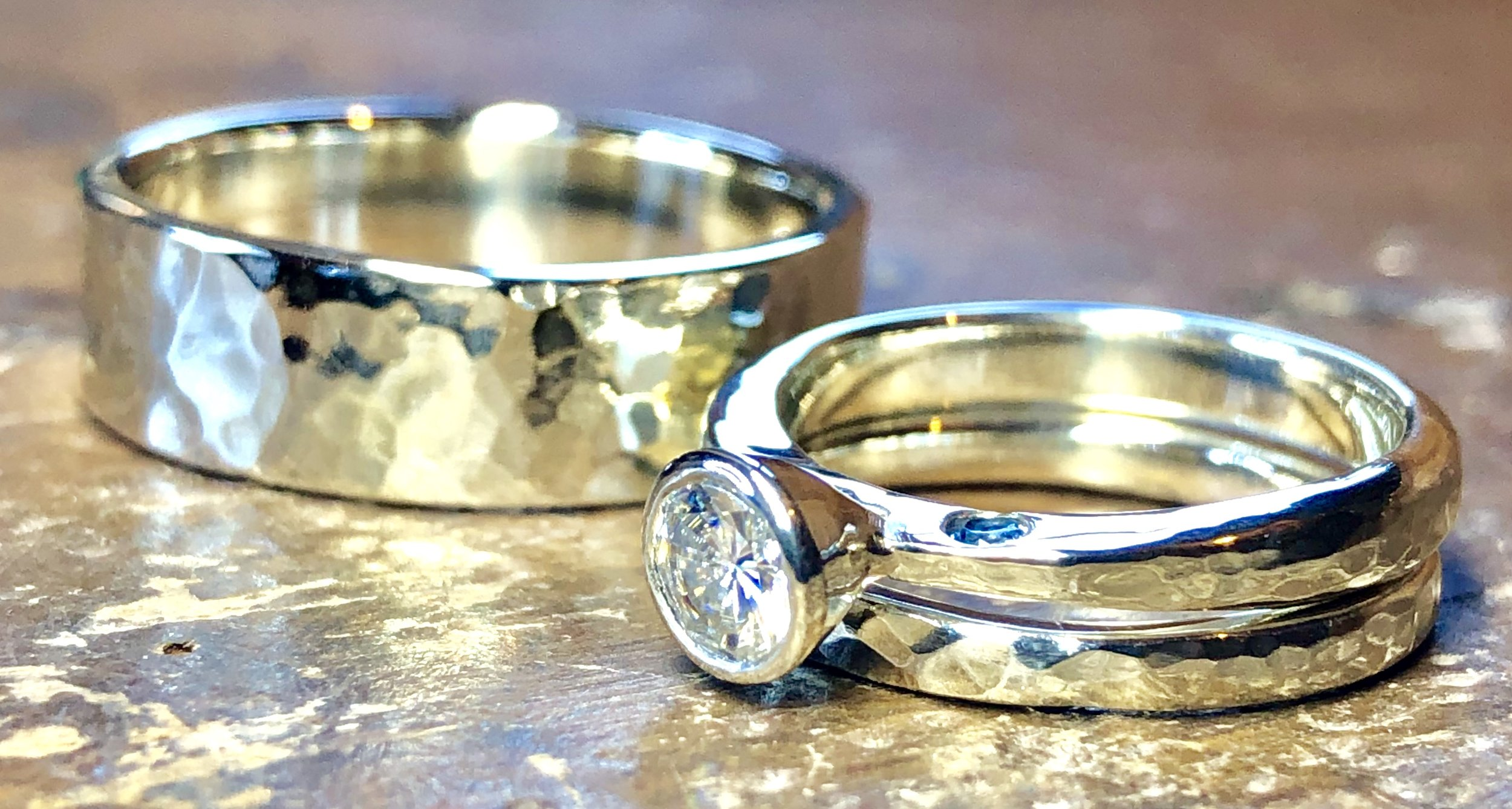 "White gold ""Something Blue"" wedding ring set"