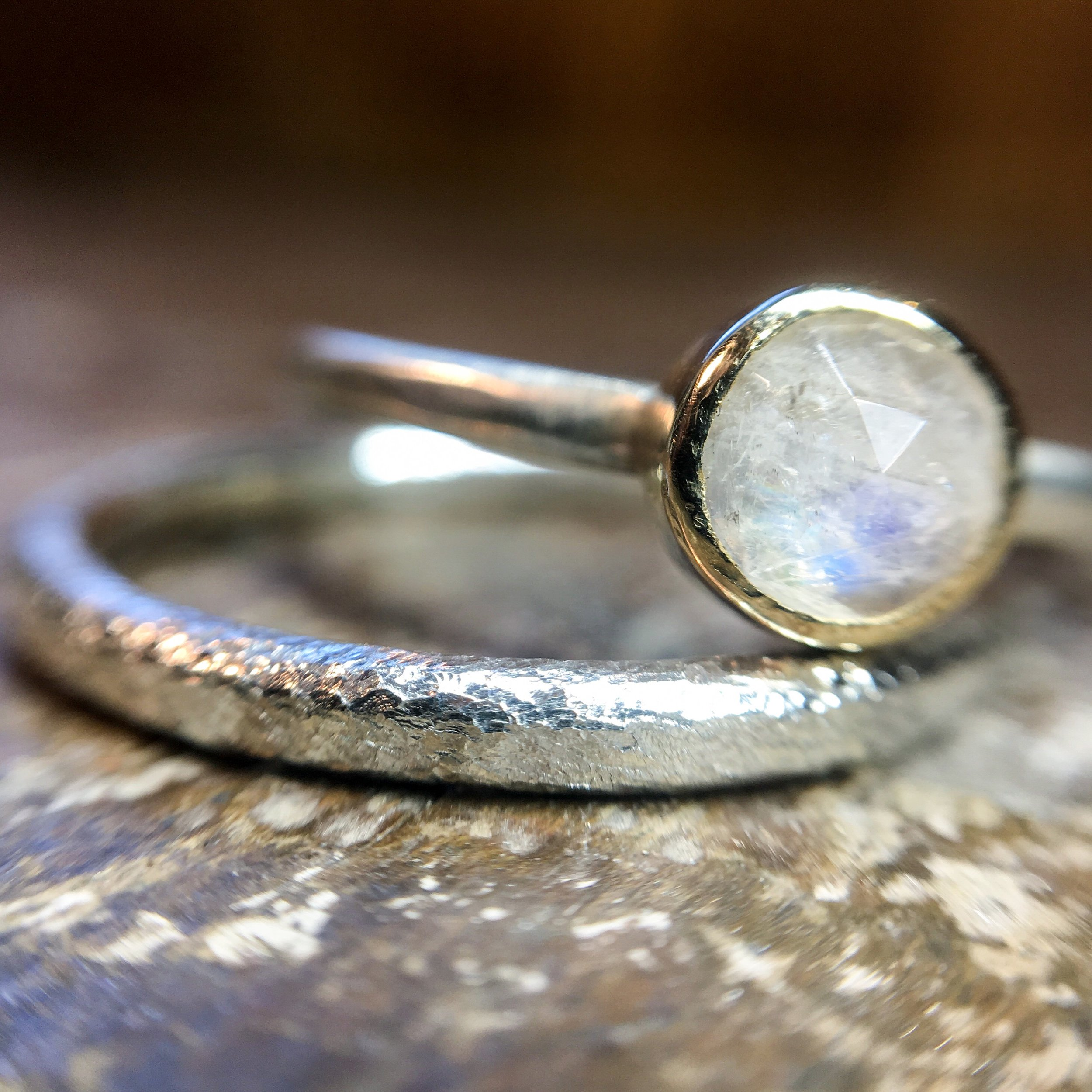 Recycled silver and gold set with moonstone