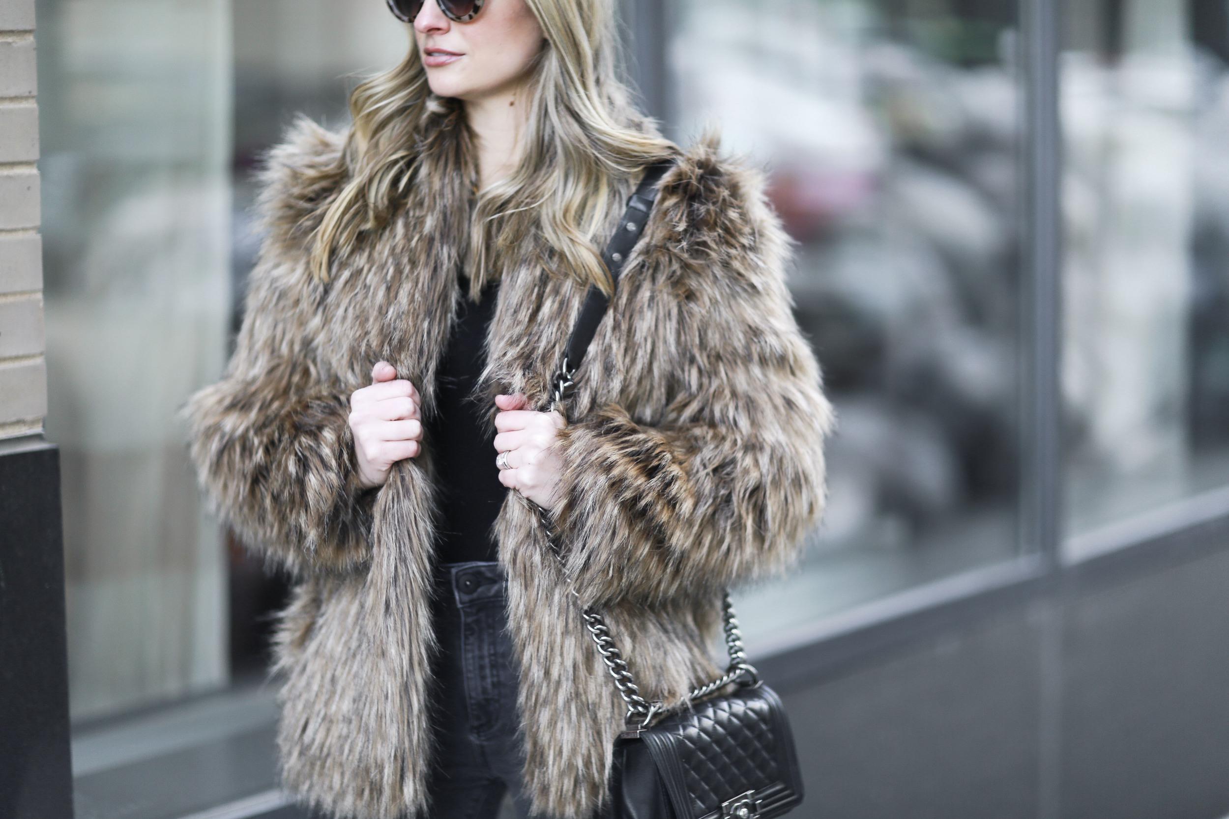 winter layers, faux fur jacket