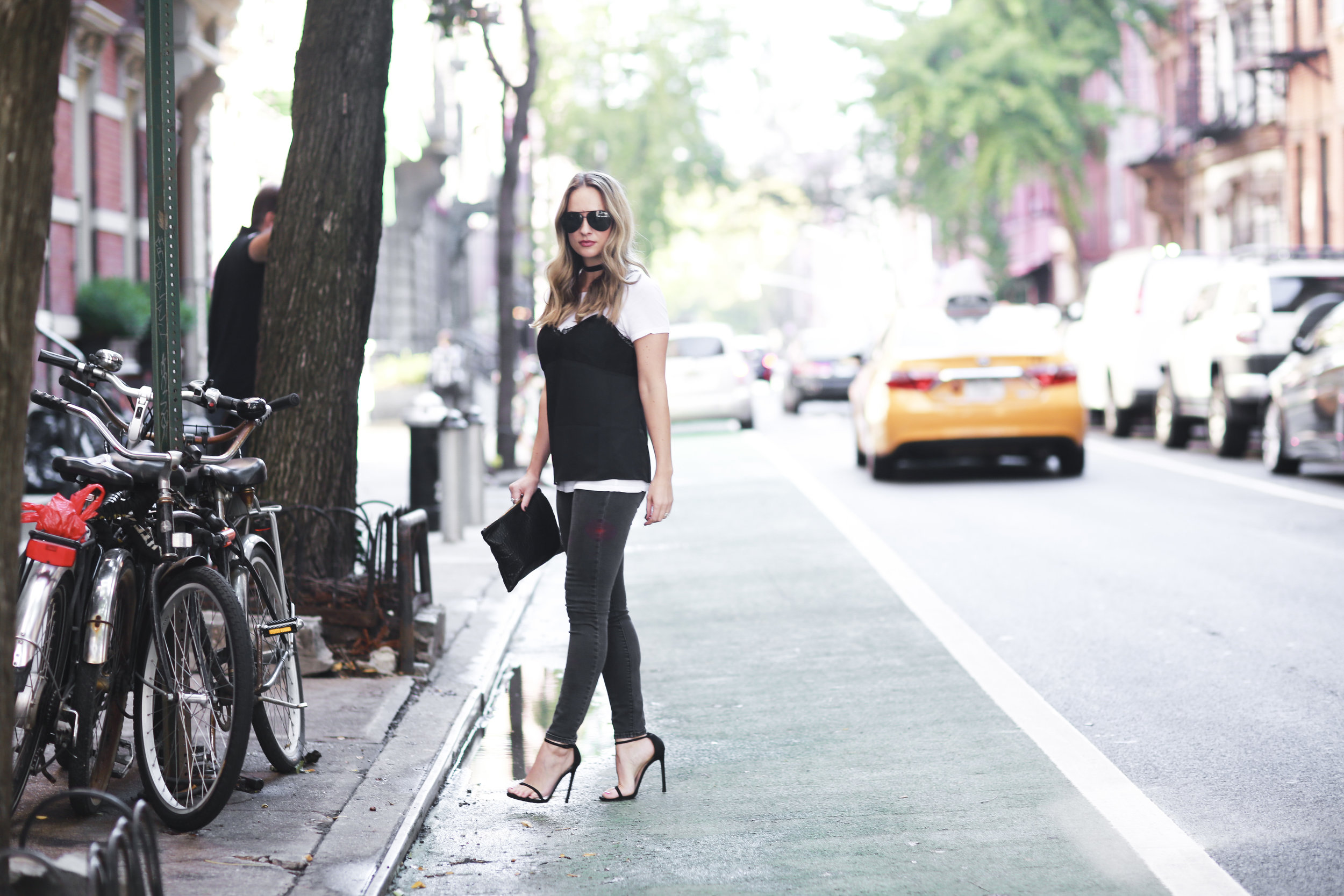 black lace camisole