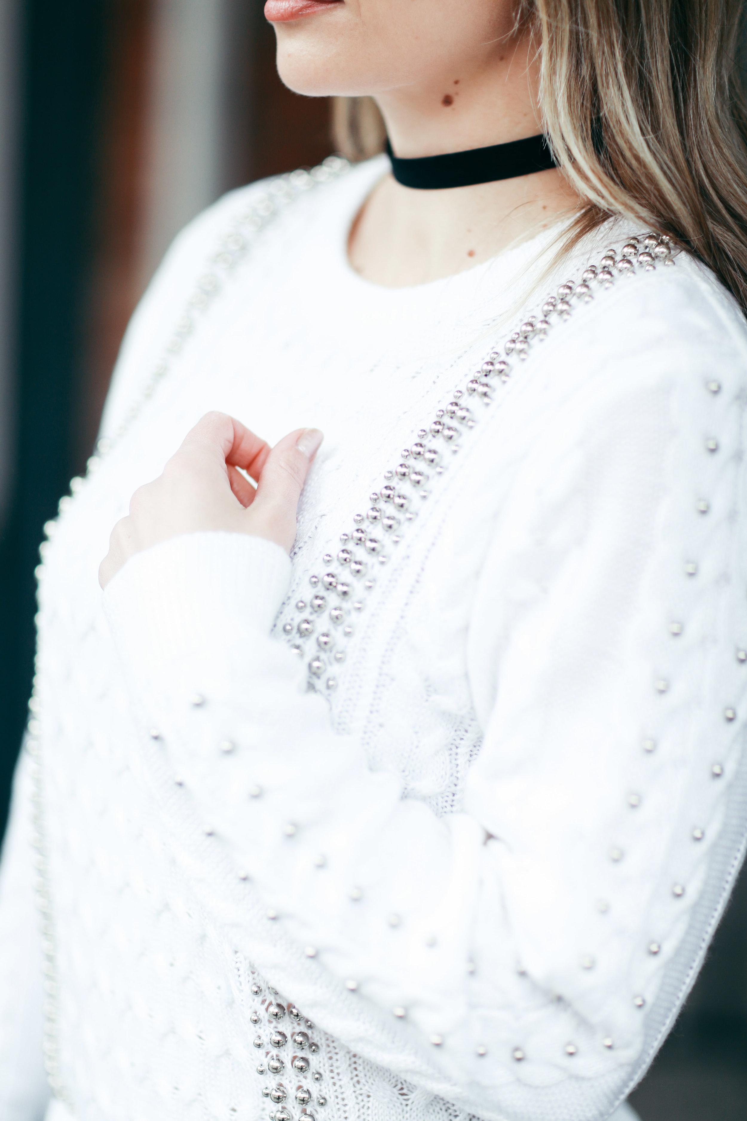 white studded knit sweater