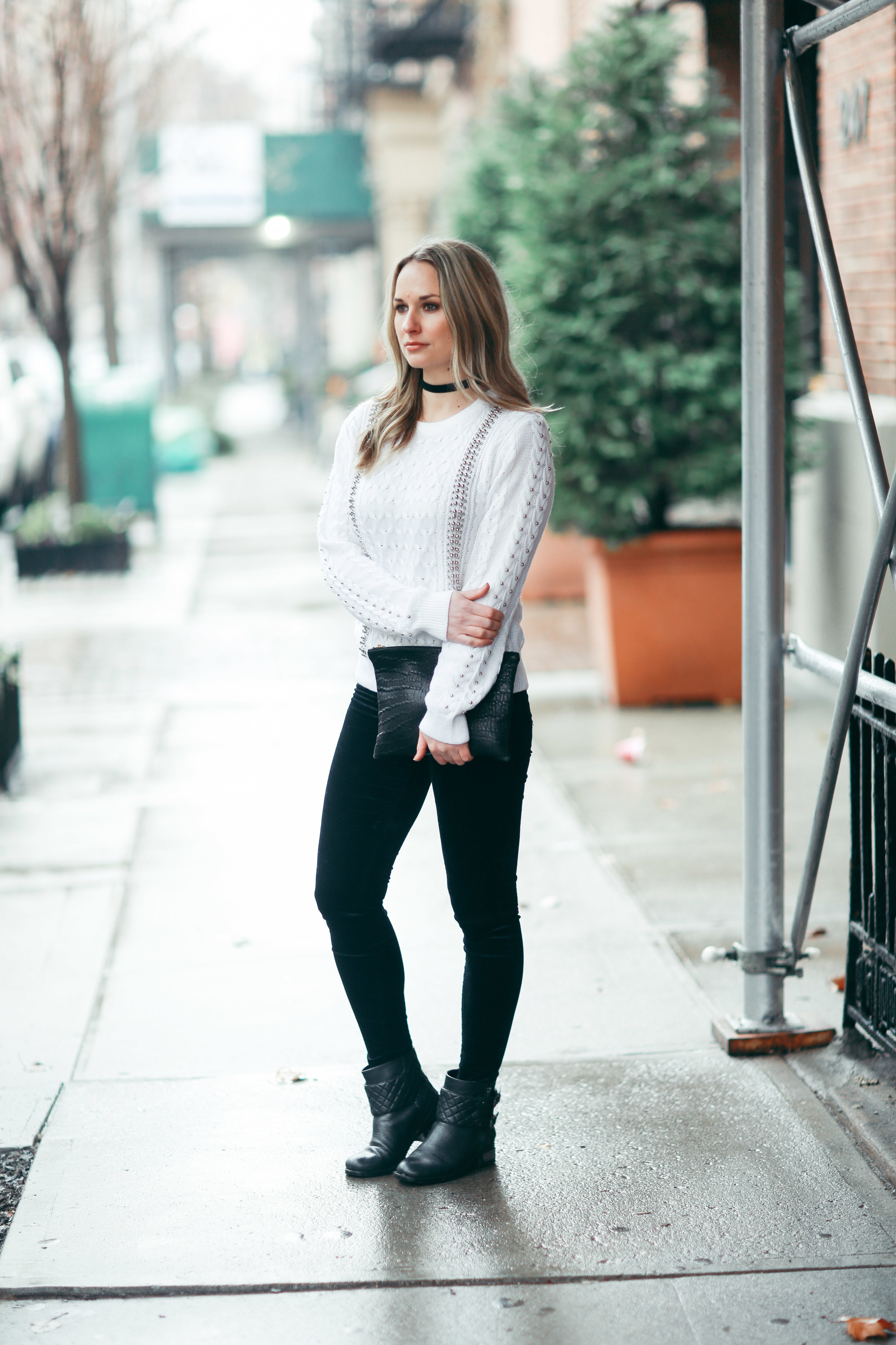 endless rose white studded sweater
