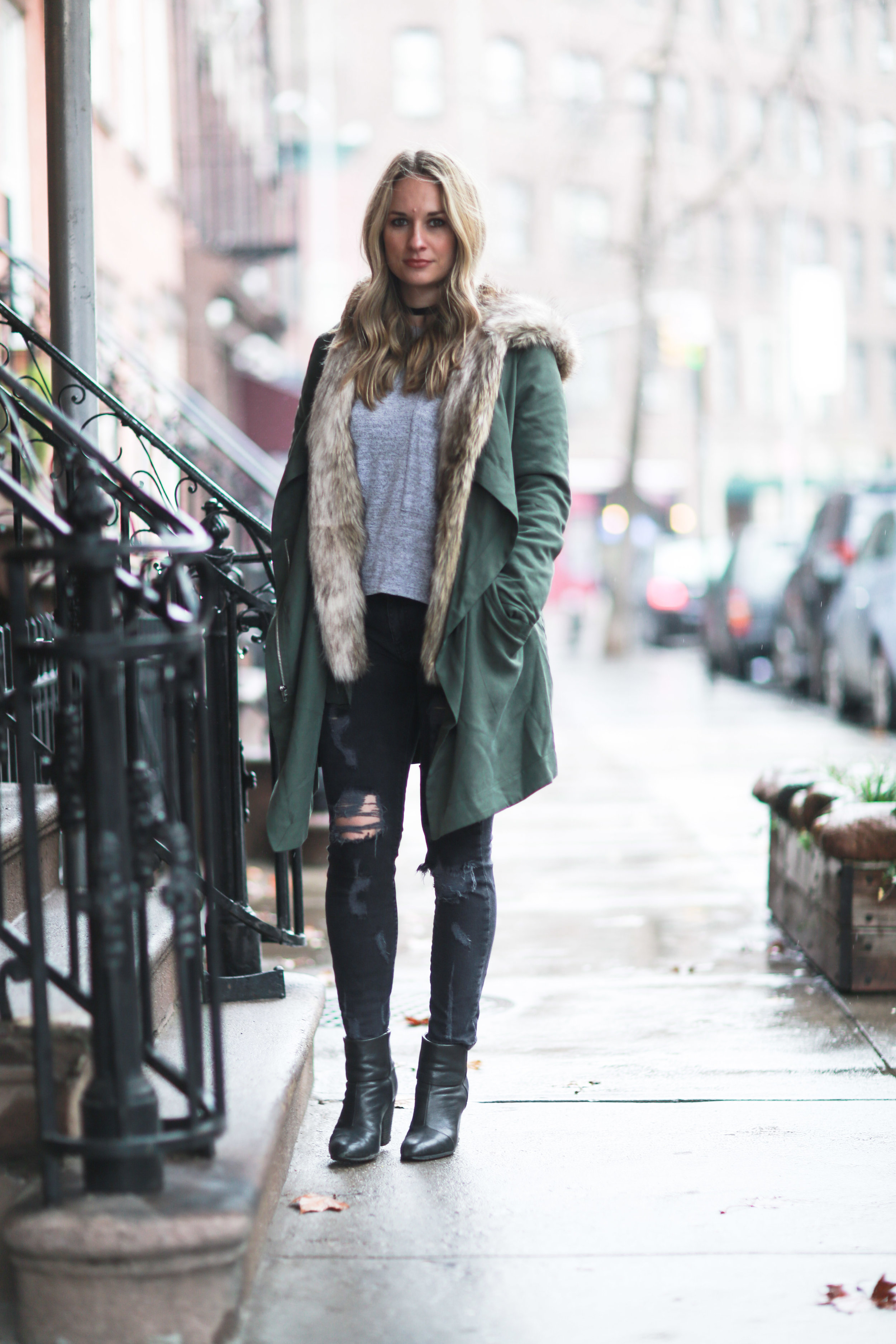 army green fur lined winter parka