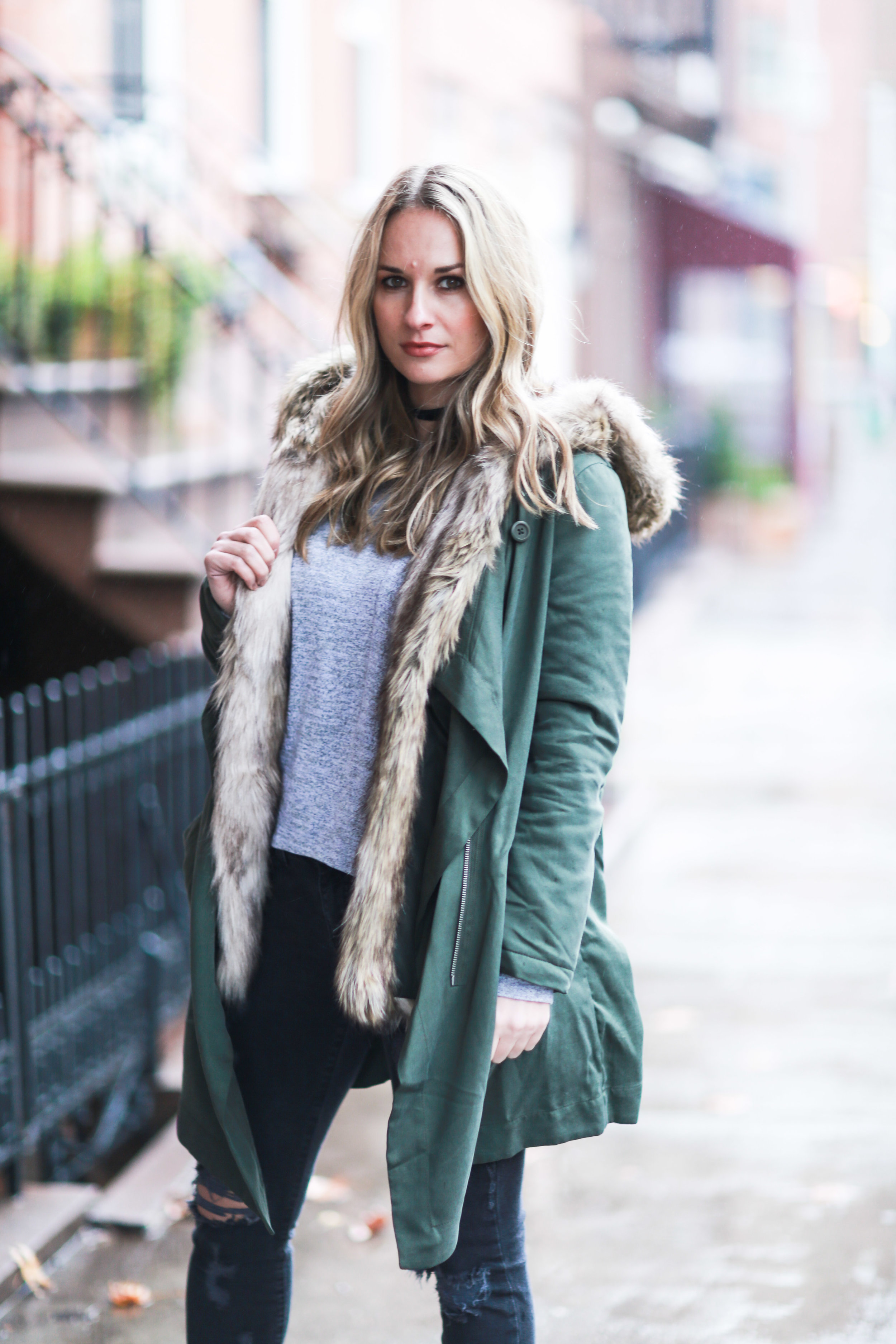 army green fur lined winter coat