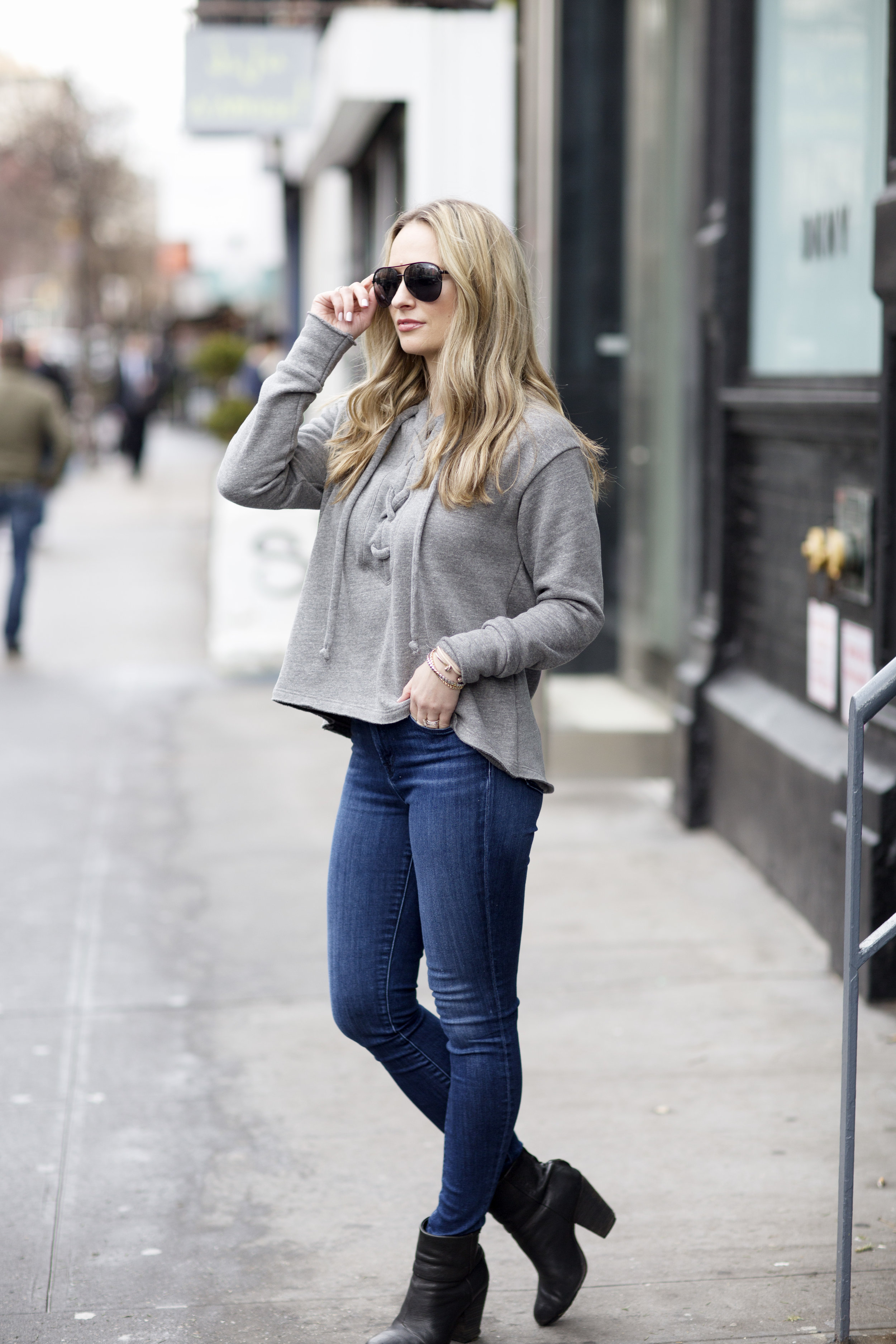 LNA Lace Up Sweatshirt