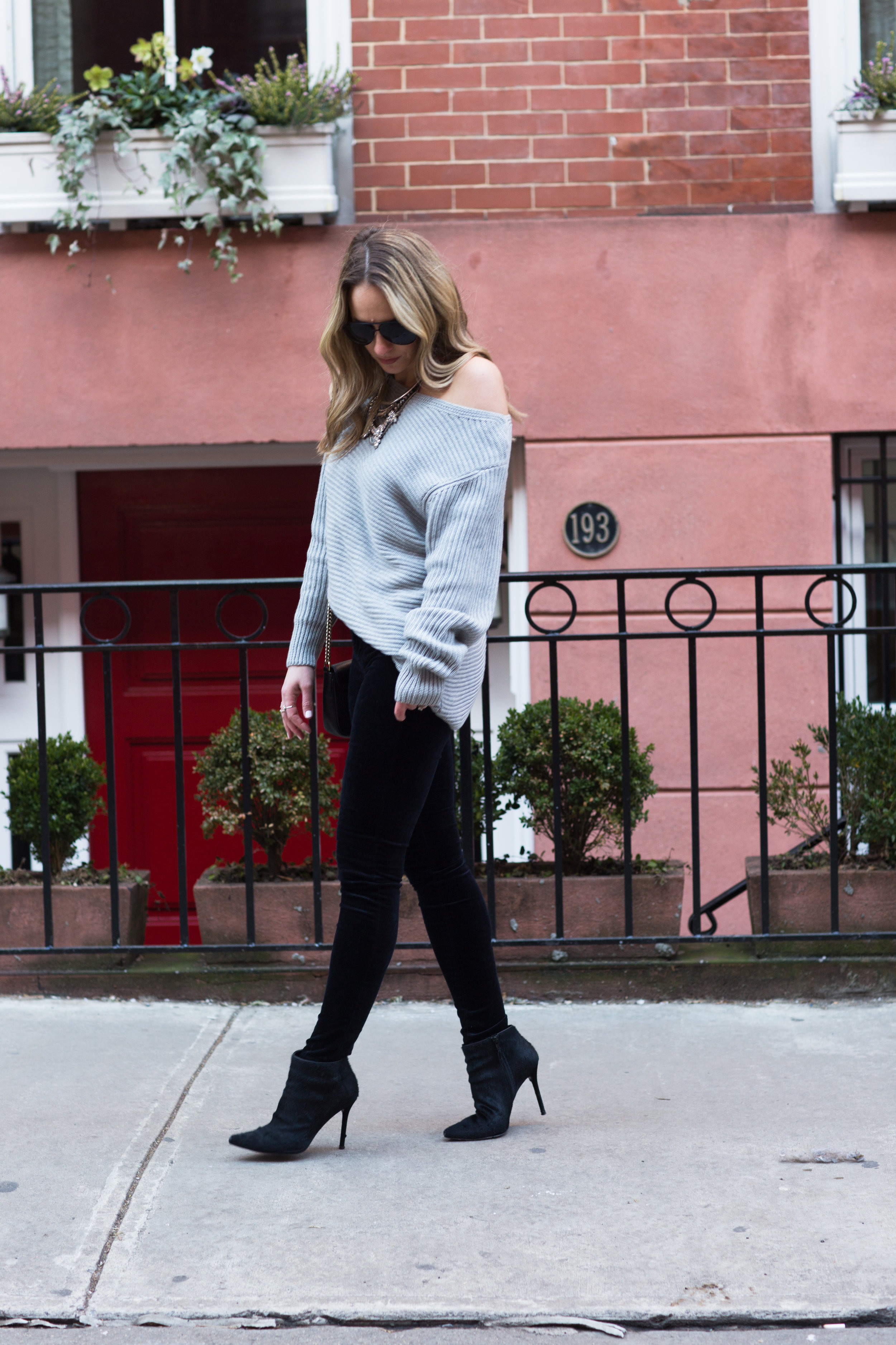 oversized grey off the shoulder sweater