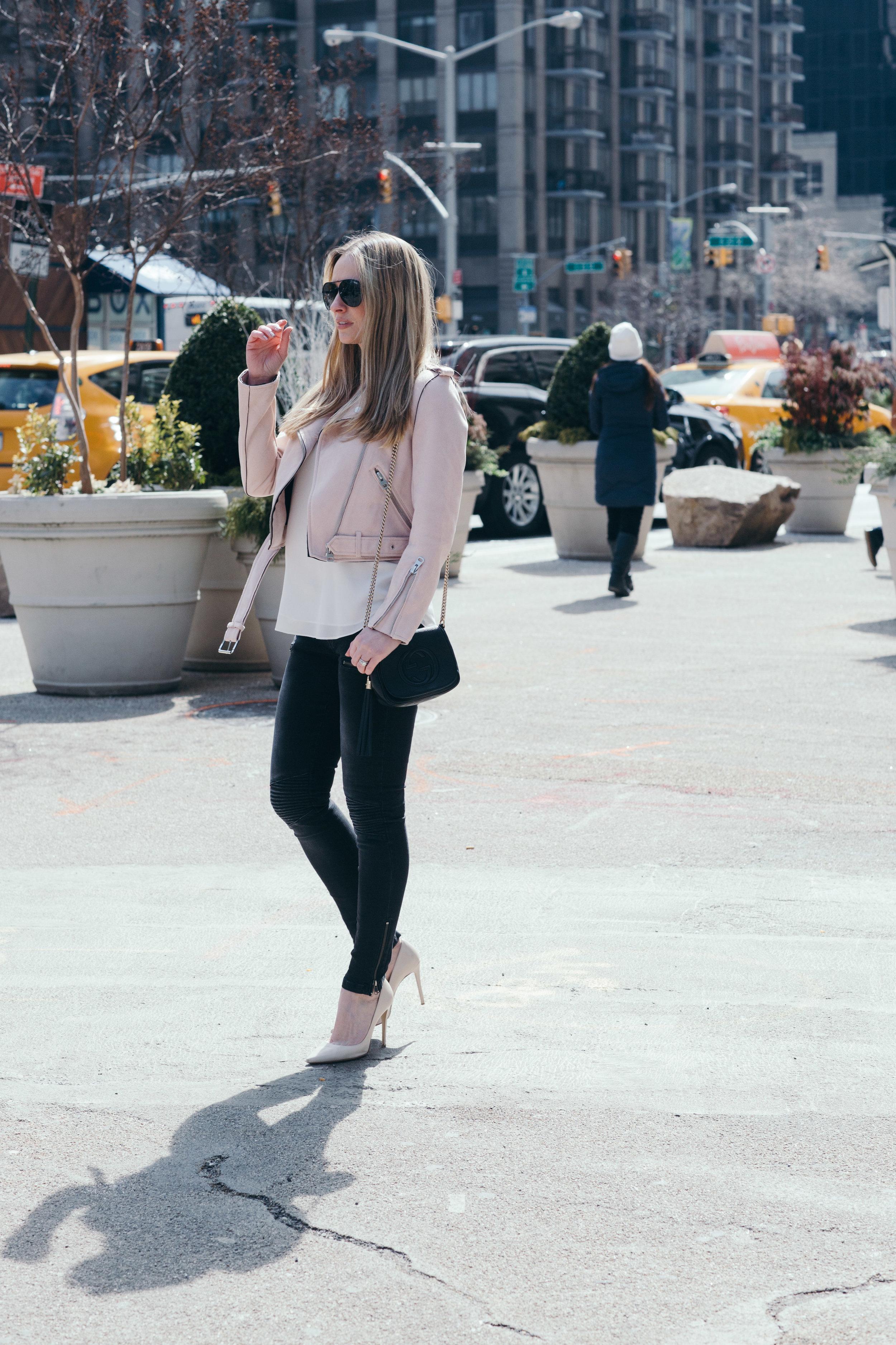 pink faux suede zara jacket