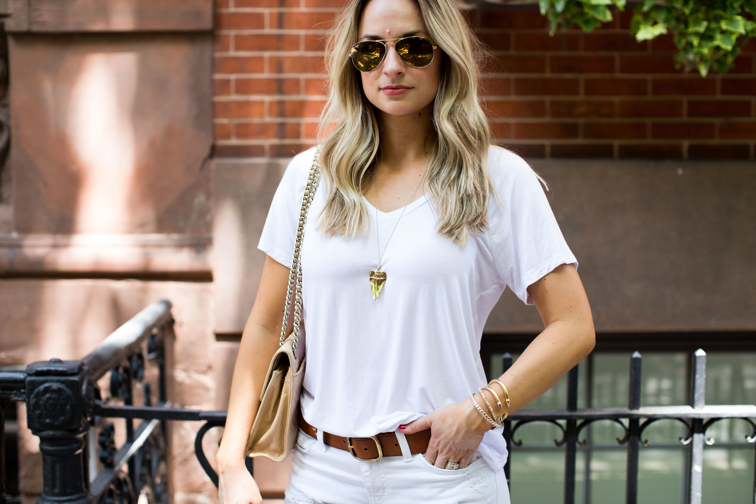 all white outfit with gold jewelry
