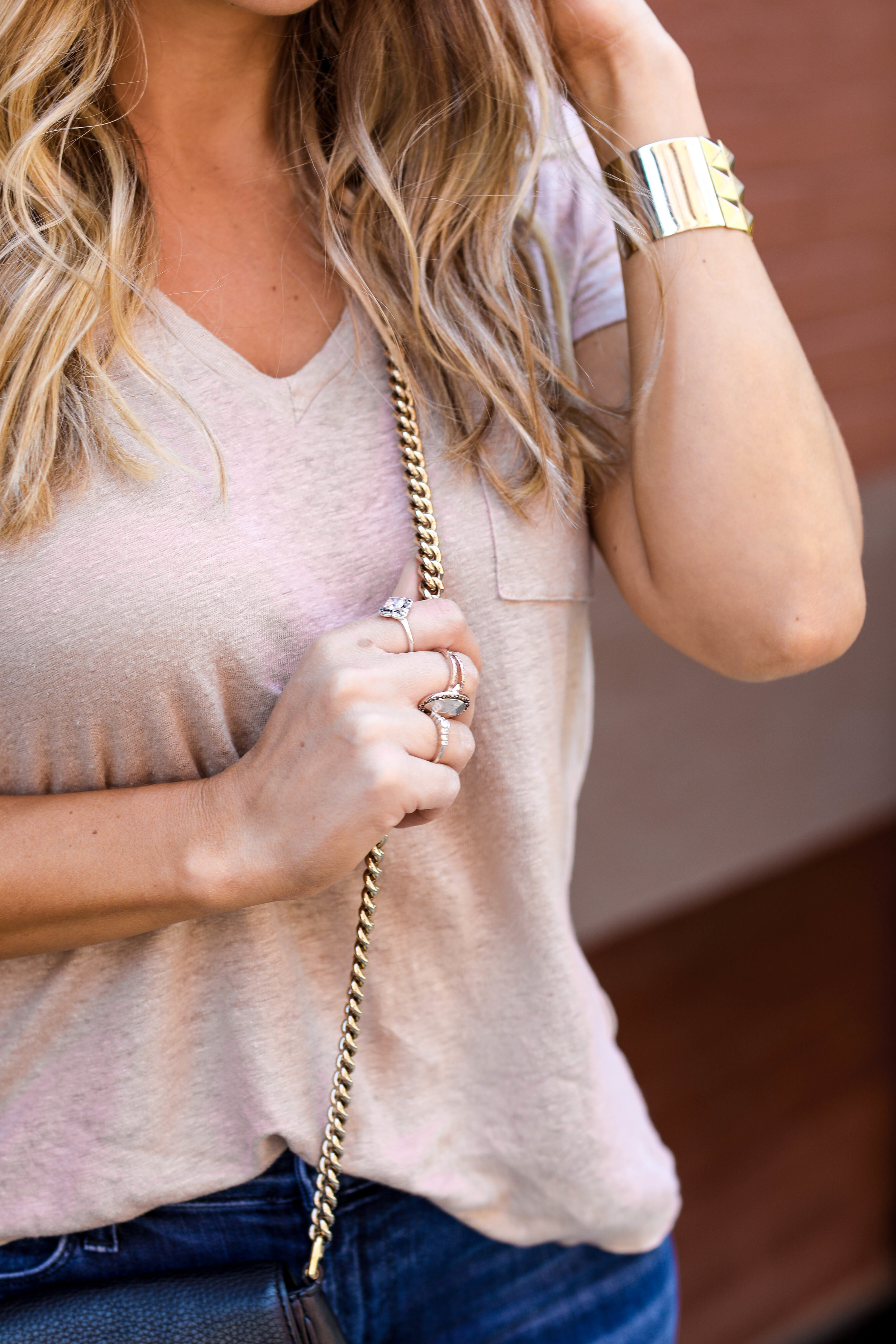 gold metallic t-shirt