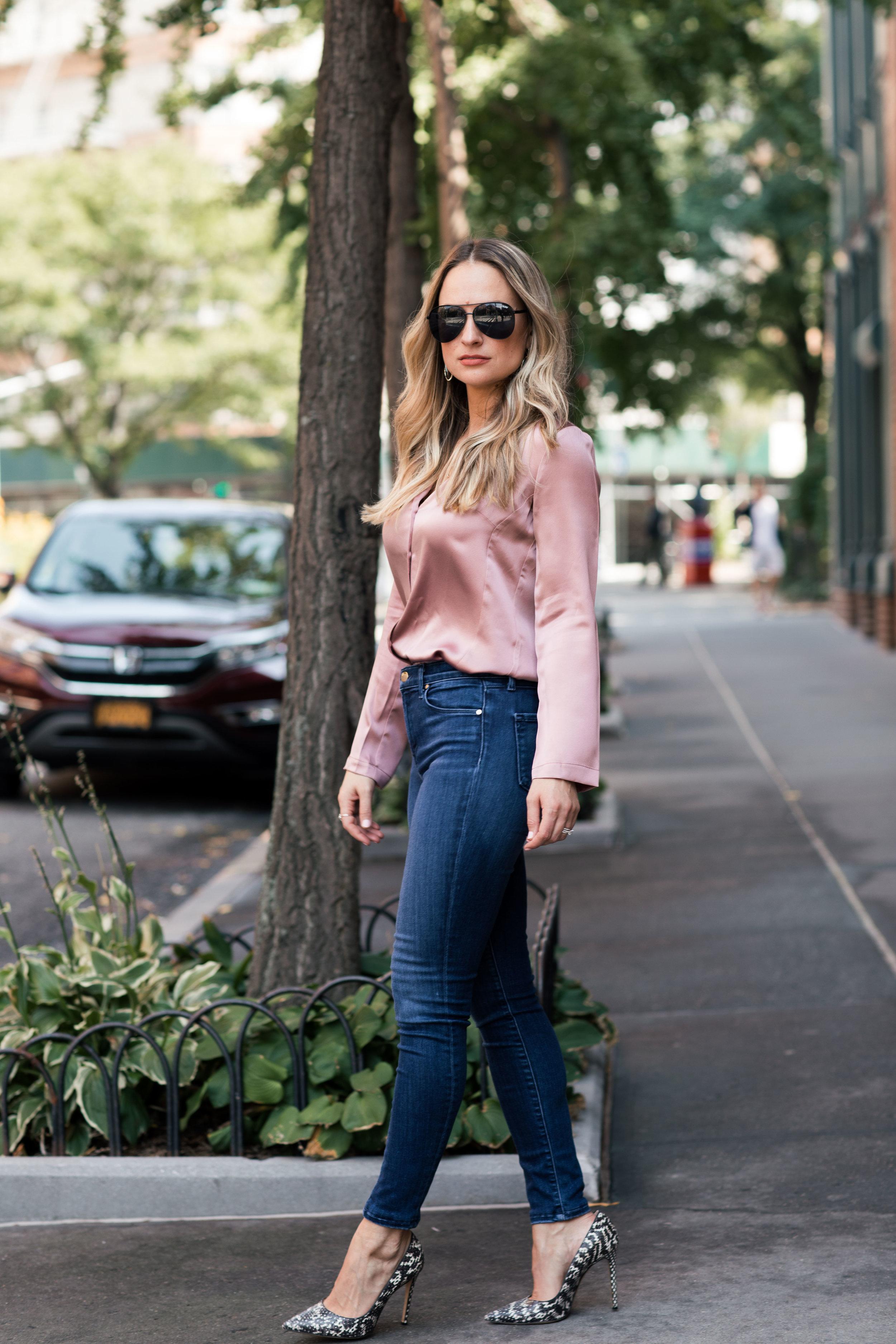 satin PJ blouse