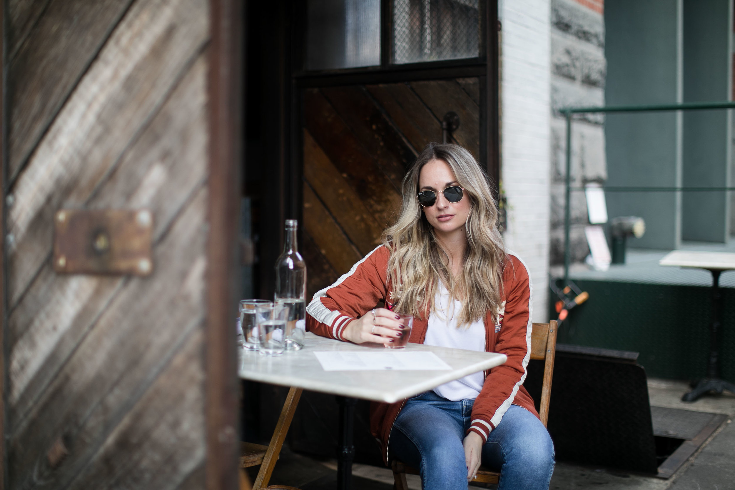 bomber jacket and wine