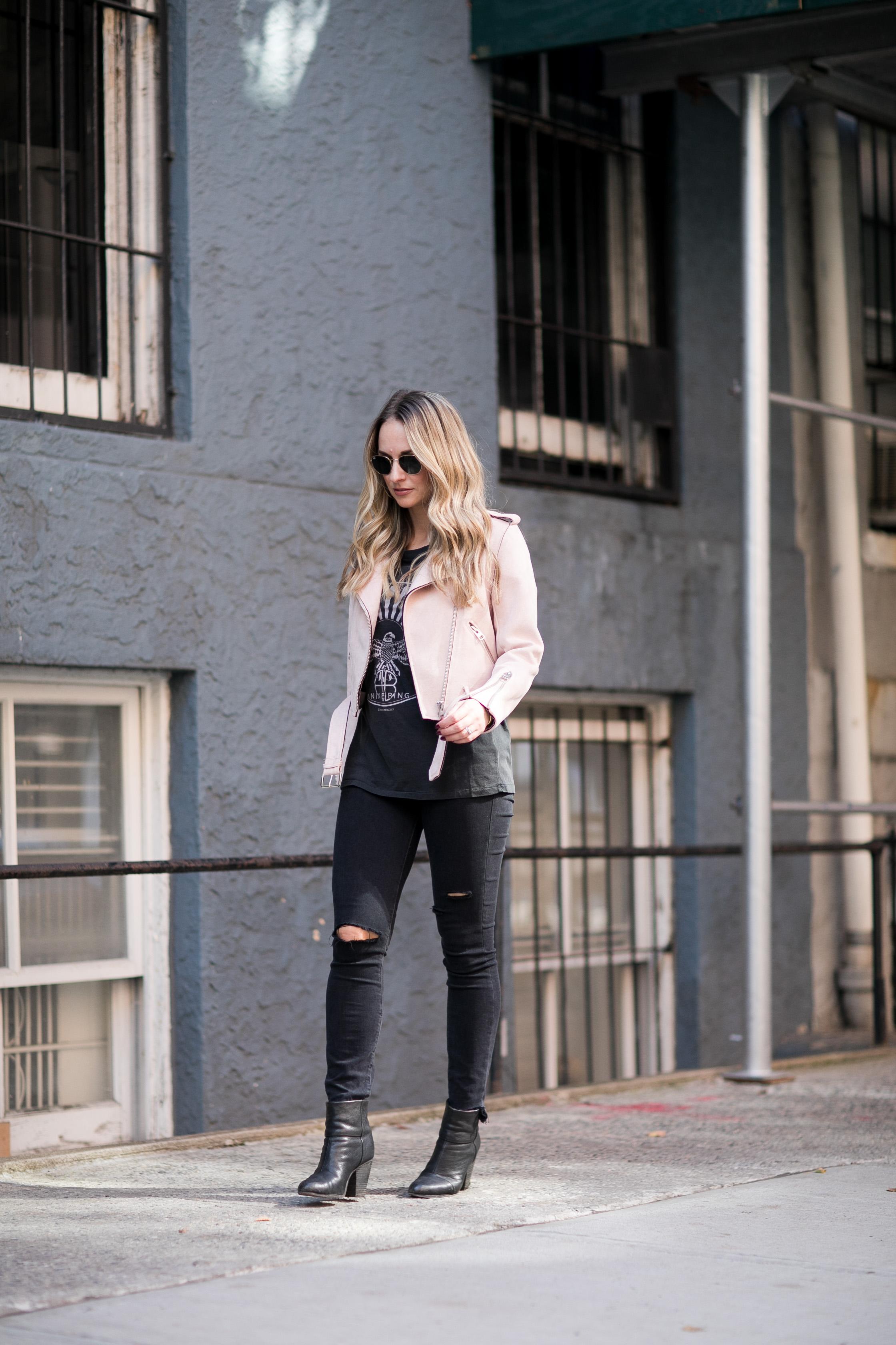 pink suede moto jacket
