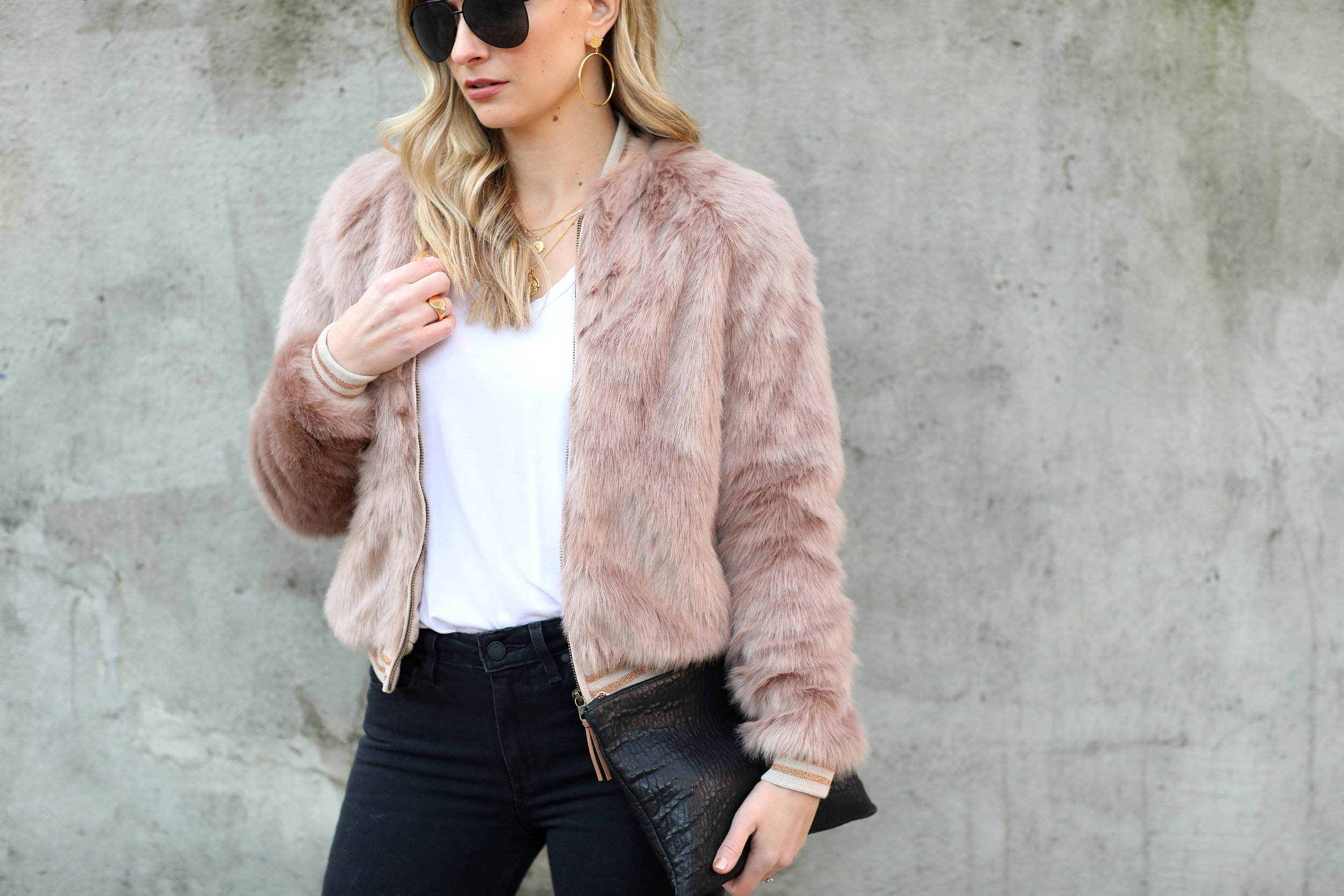 pink fur bomber jacket