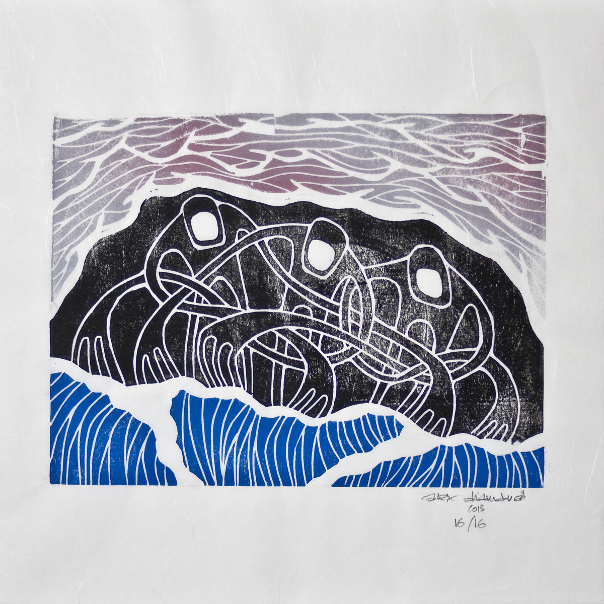 new woodblock print: 'theskyandthesea', available online (click image to visit the print-shop)