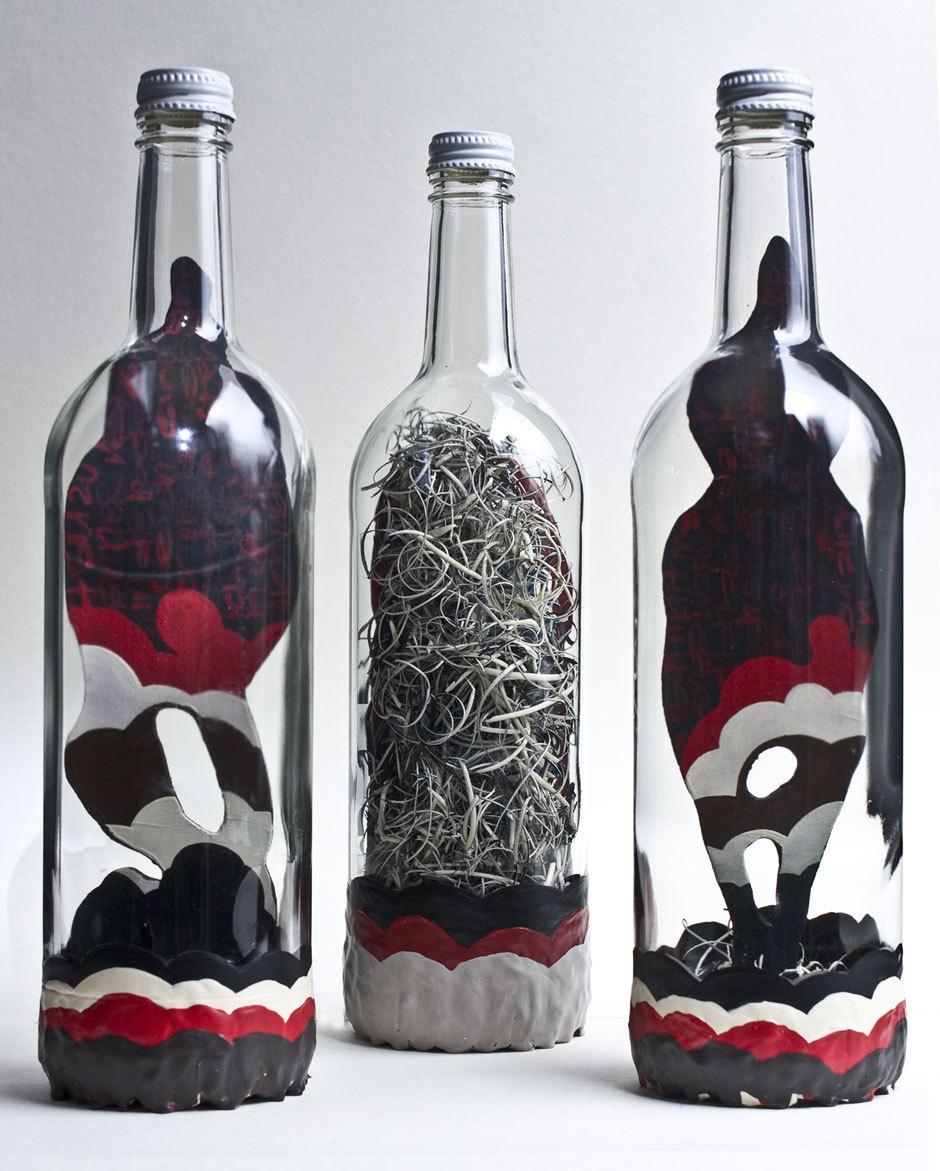 3 Bottles, 3 messages: back view. © Alex Diamond