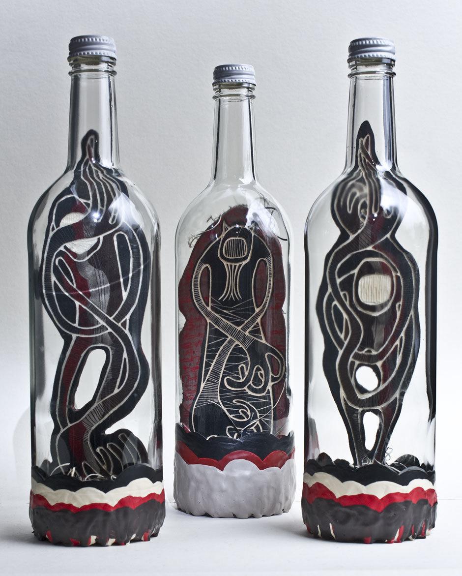 3 Bottles, 3 messages: front view. © Alex Diamond