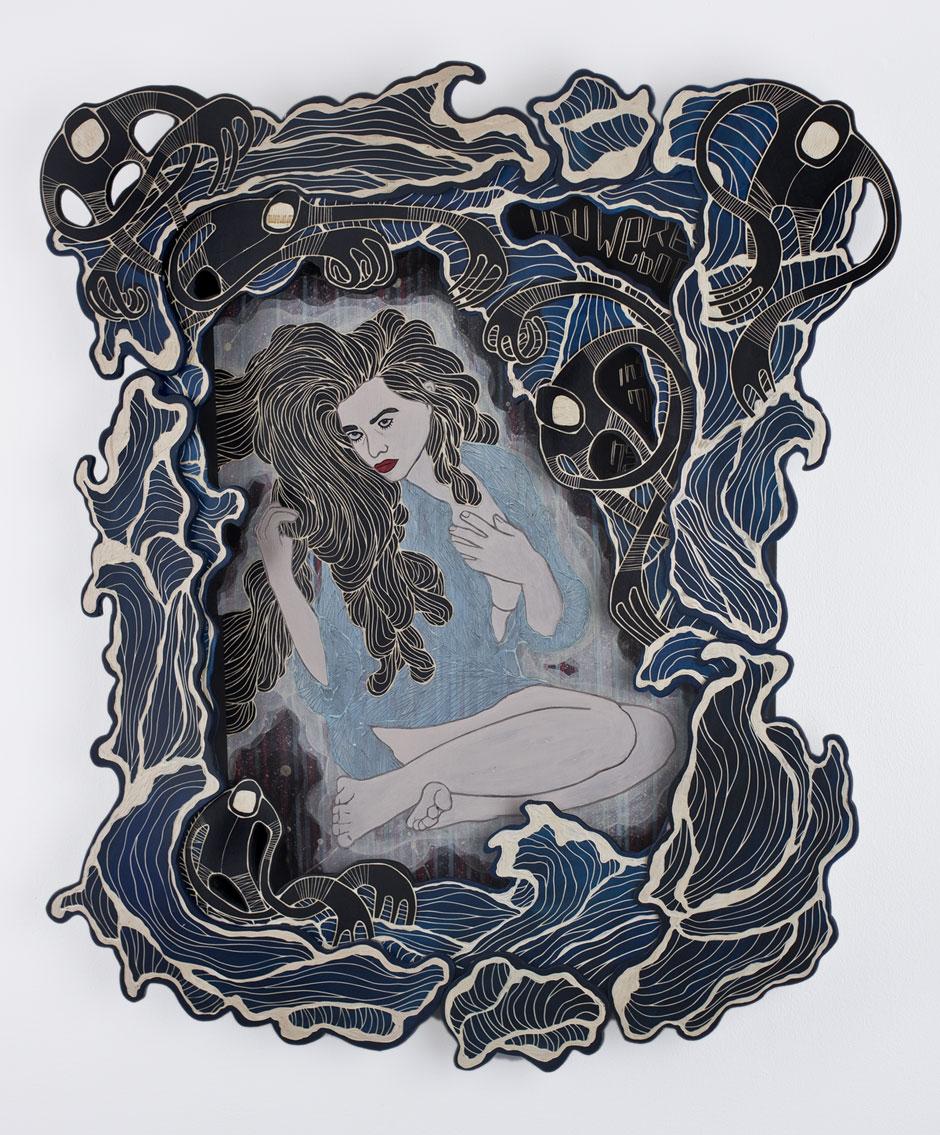 The final artwork: woodcut 'You were born inside my heart' ( more info )