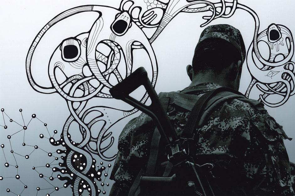 PDC#009 Photo by Jo Fischer, artwork by Alex Diamond   30 x 20 cm, ink on photography, 2014