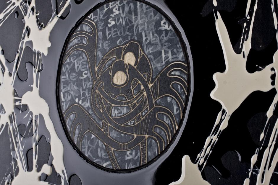 Alex Diamond: Black Hole Sun II (Detail)   Woodcut, acrylic paint, resin, 30 x 40 x 3 cm (2014)
