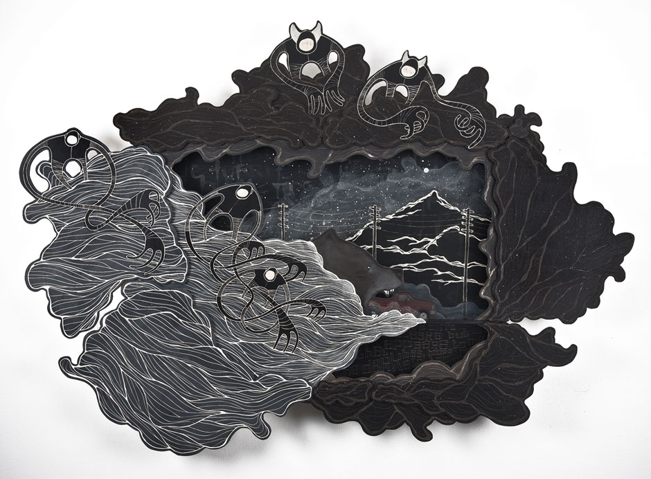 Alex Diamond: (We ain't in Alaska, but) It appears to me that the dark has a lot more territory. Multi-layered woodcut, acrylic paint, 120 x 160 x 10 cm (2014)