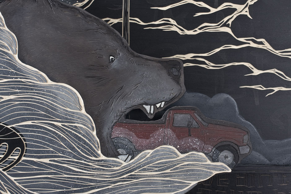 Alex Diamond: (We ain't in Alaska, but) It appears to me that the dark has a lot more territory. (Detail) |Multi-layered woodcut, acrylic paint, 120 x 160 x 10 cm (2014)
