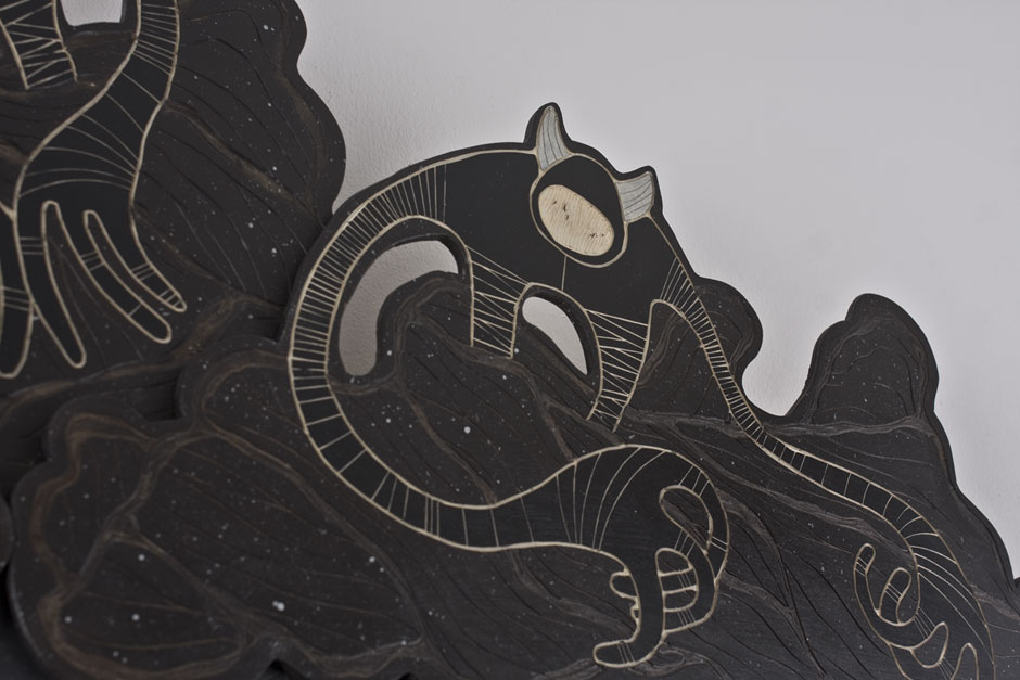 Alex Diamond: (We ain't in Alaska, but) It appears to me that the dark has a lot more territory. (Detail)  Multi-layered woodcut, acrylic paint, 120 x 160 x 10 cm (2014)