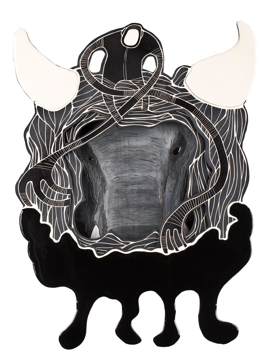 Alex Diamond: Animal Inside (Masked Hero #02: Elephant) Multiy-layered woodcut, acrylic paint, resin, approximately 45 x 65 x 10 cm (2014)
