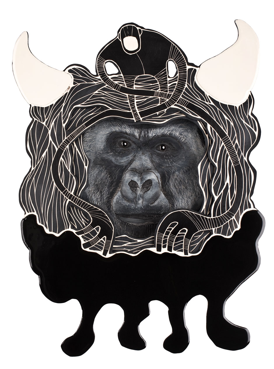 Alex Diamond: Animal Inside (Masked Hero #01: Gorilla) Multiy-layered woodcut, acrylic paint, resin, approximately 45 x 65 x 10 cm (2014)