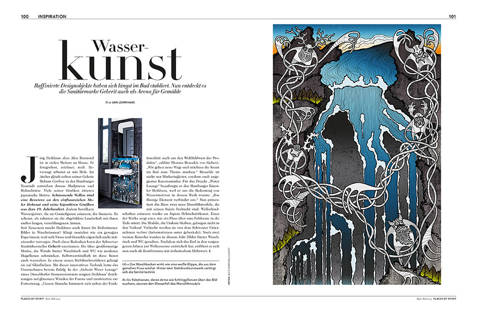 Feature in german magazine 'Places of Spirit' about my exclusive art edition for the project 'Artists for Geberit'.