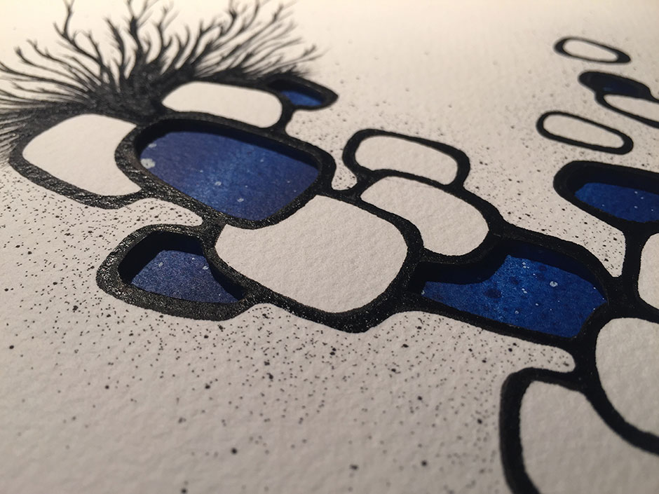 Detail from Alex Diamond: Featherweight Blue   Drawing on cut and layered paper