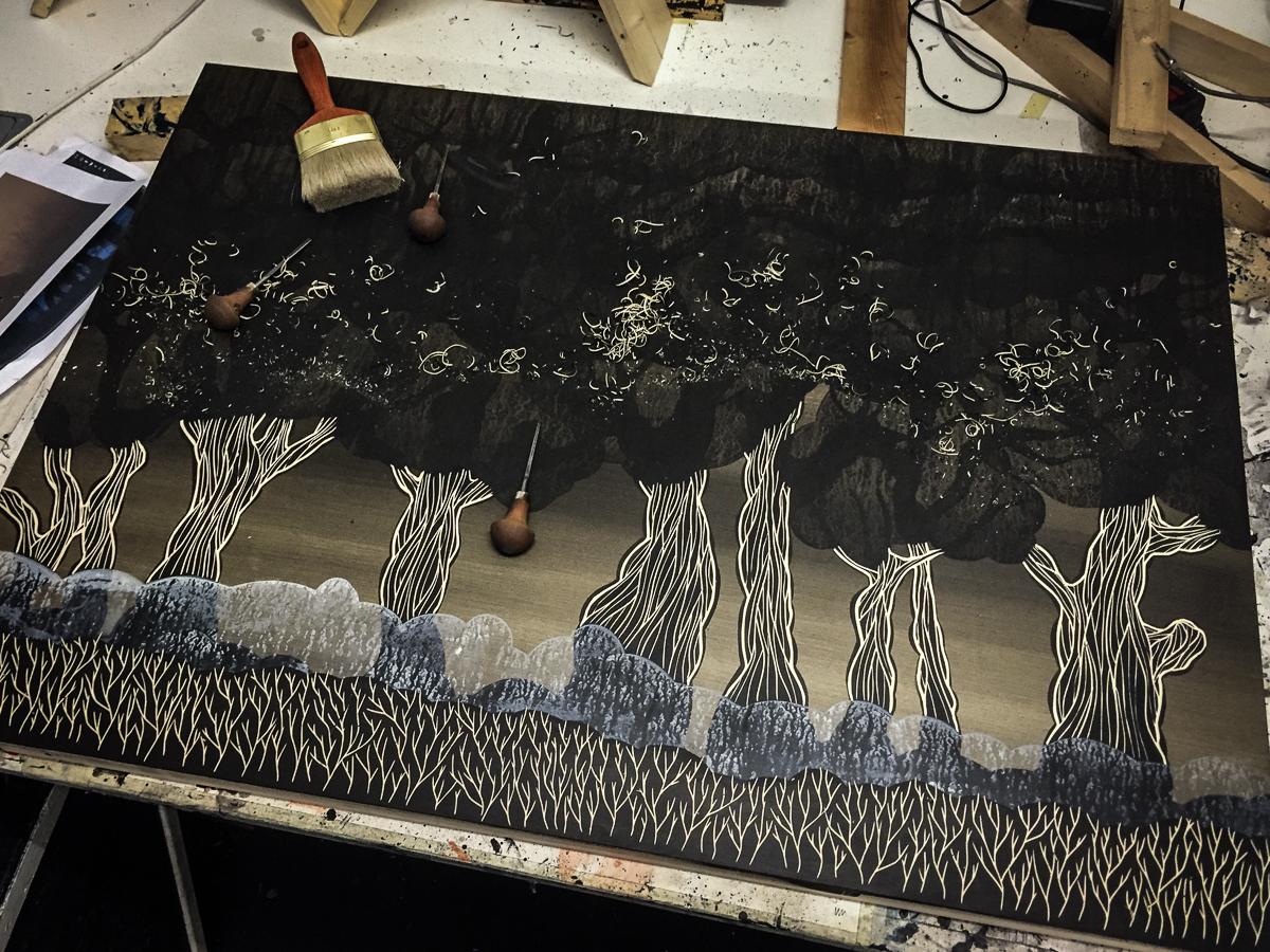 Work in progress:Encounter at 4 am (2015), Multi-layered woodcut | © Alex Diamond