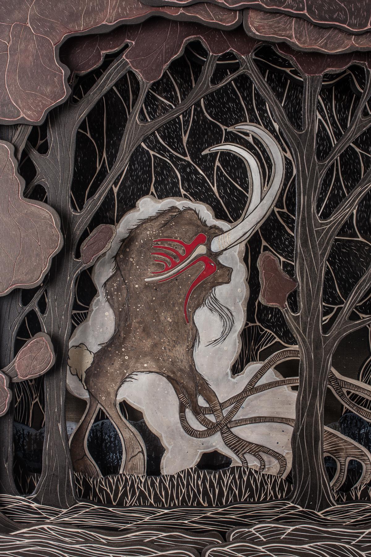 "Detail from:Encounter at 4 am (2015), Multi-layered woodcut, acrylic paint, ca. 150 x 125 x 13 cm (59"" x 49"" x 12.5"") | © Alex Diamond"