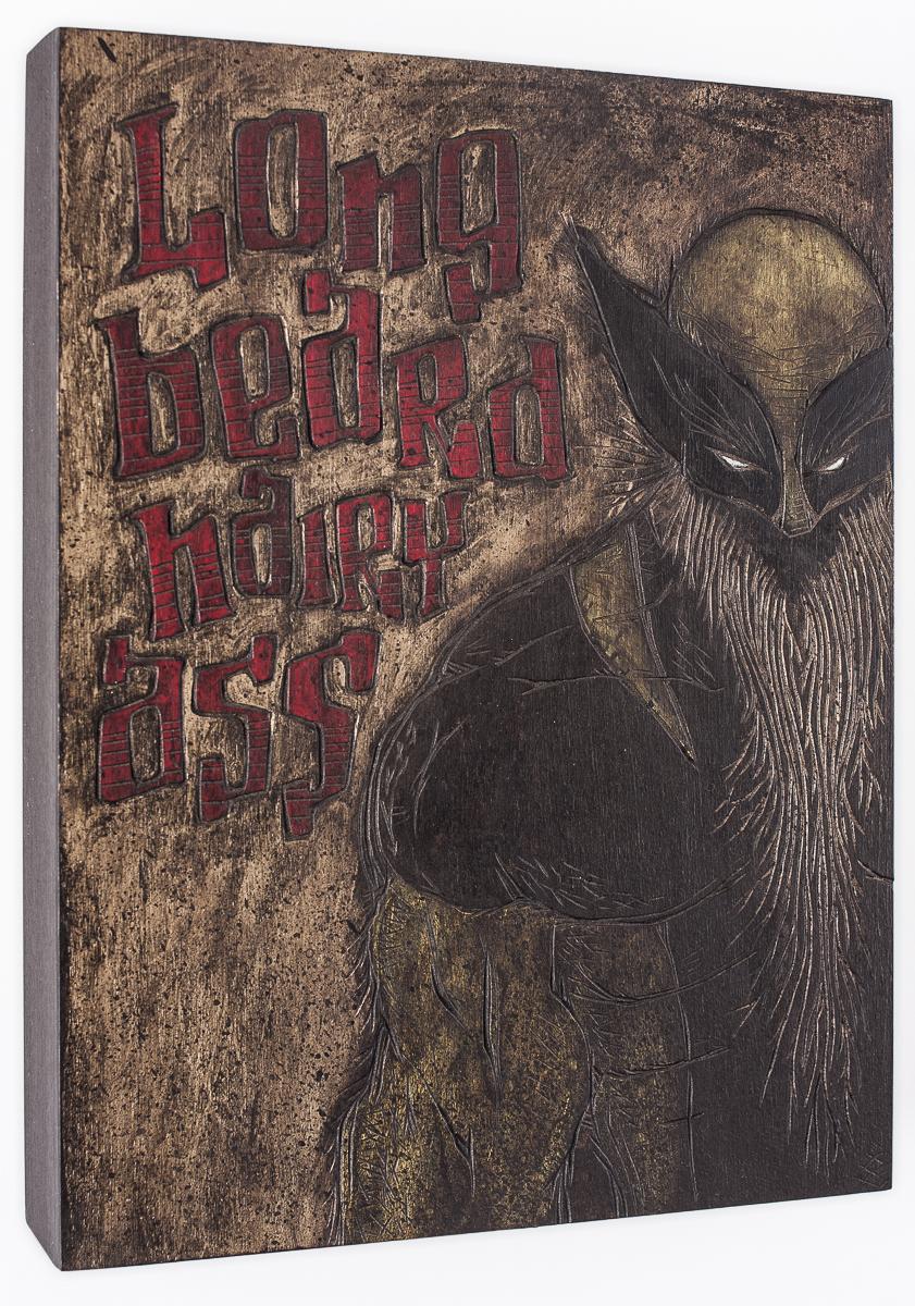 "Alex Diamond: Long Beard, Hairy Ass (2016) acrylic paint, woodcut, 20 x 20 x 3 cm (7.8"" x 7.8"" x 1.2"")"