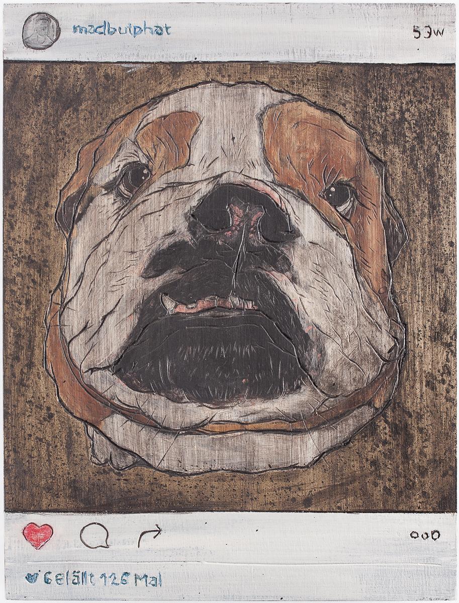 "Alex Diamond: Gefällt 126 Mal (2016)  acrylic paint, woodcut, 18 x 24 x 3 cm (7"" x 9.5"" x 1.2"") | Instagram user @madbutphat"