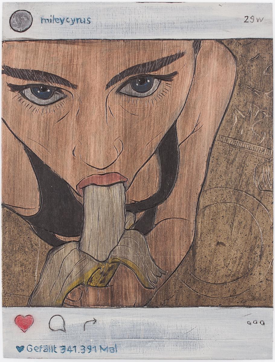"Alex Diamond: Gefällt 341.391 Mal (2016)  acrylic paint, woodcut, 18 x 24 x 3 cm (7"" x 9.5"" x 1.2"") | Instagram user @mileycyrus"