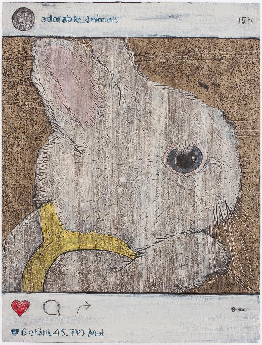 "Alex Diamond: Gefällt 45.319 Mal (2016)  acrylic paint, woodcut, 18 x 24 x 3 cm (7"" x 9.5"" x 1.2"") | Instagram user @adorable_animals"
