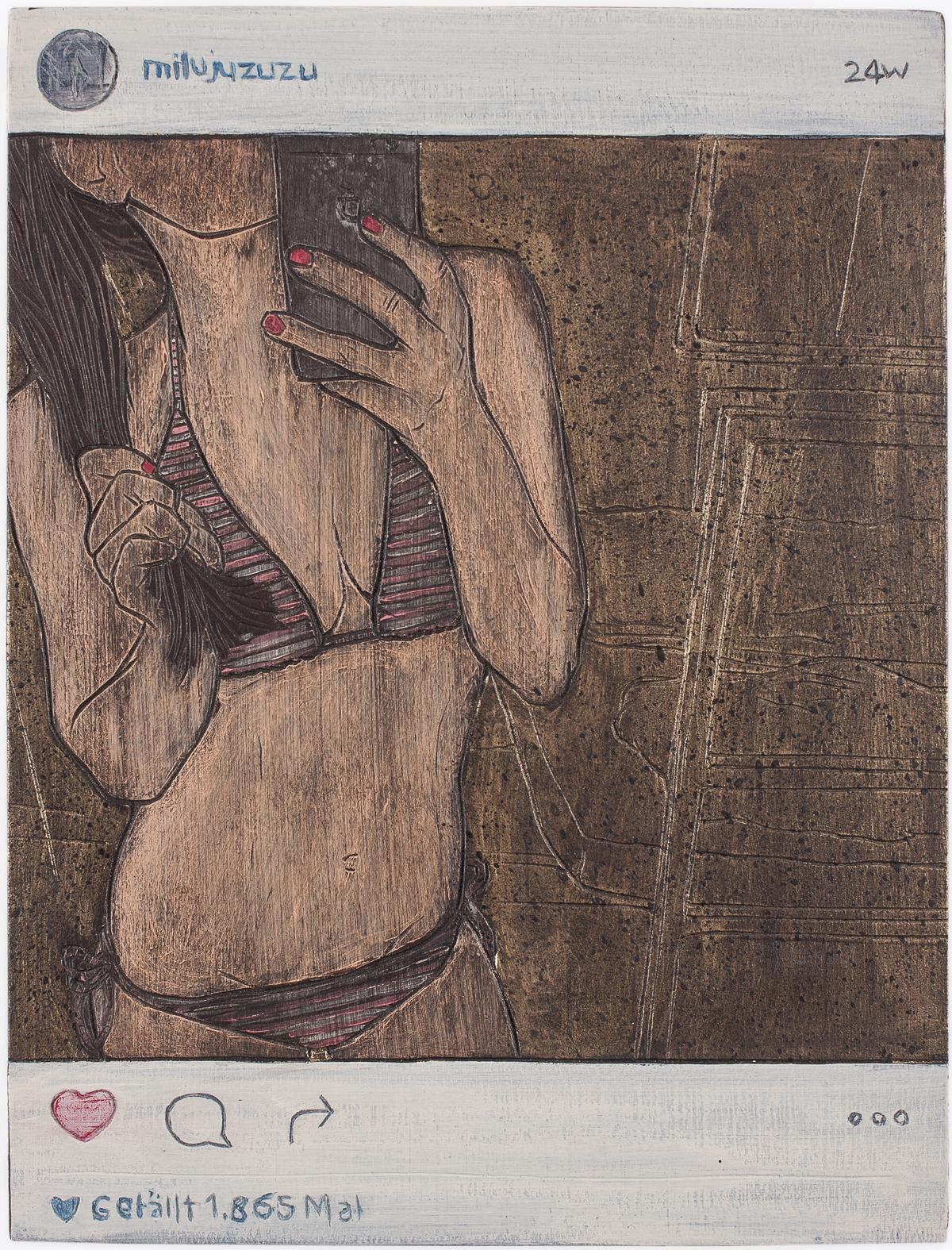 "Alex Diamond: Gefällt 1.865 Mal (2016)  acrylic paint, woodcut, 18 x 24 x 3 cm (7"" x 9.5"" x 1.2"") | Instagram user @milujuzuzu"