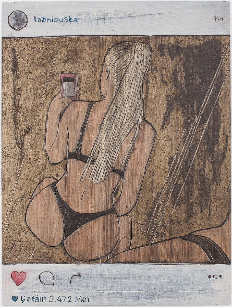 "Alex Diamond: Gefällt 3.472 Mal (2016)  acrylic paint, woodcut, 18 x 24 x 3 cm (7"" x 9.5"" x 1.2"") | Instagram user @taaniouska"