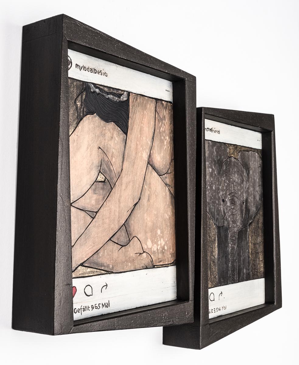 Alex Diamond: Gefaellt 4.479 Mal (2016) Acrylfarbe auf Holzschnitt, 32 x 45 x 5 cm |Instagram users @myladalbesio @insaanimal