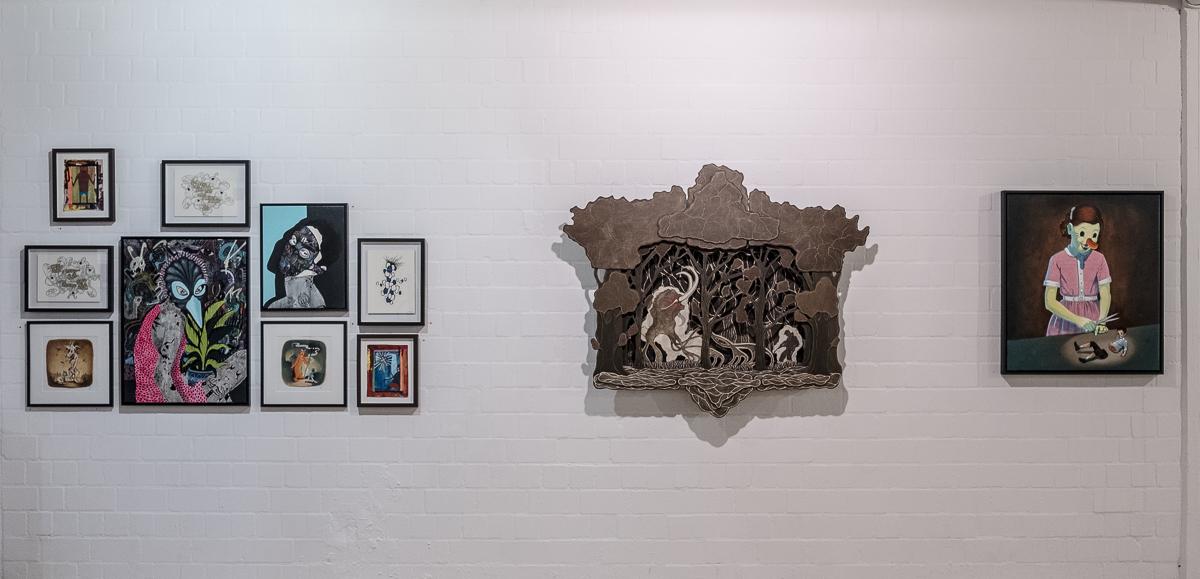 """Installation view from """"142 Jahre Kunst in Hamburg"""" alongside Jay Ole, Rune Christensen, Victor Castillo, Jaybo Monk and Boris Hoppek, Hamburg, 2016. More images  here ."""