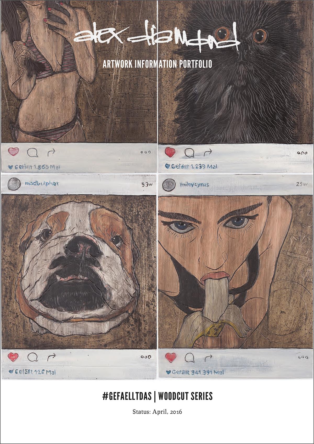 Alex Diamond: #gefaelltdas | Series of Woodcuts (Infosheet)- click to view online (or download PDF)